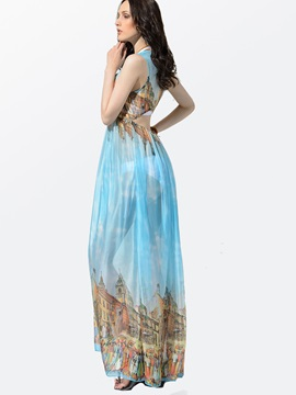 Clocolor® Castle-Print Halter Back-Waist-Cut Bohemia Dress