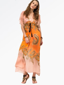 Clocolor® Chiffon Puff Sleeves  Dress