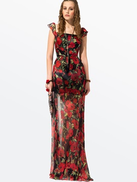 Clocolor® Bohemian Rose Printed Maxi Dress