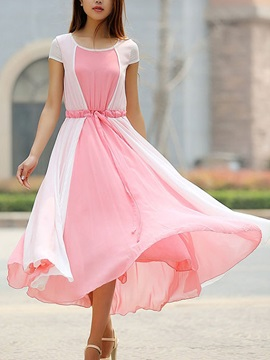 Color Block Pleated Lace-Up Women's Chiffon Skater Dress