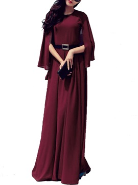 Solid Ruffle Sleeve Expansion  Dress