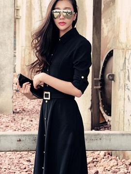 Black Turn-Down Collar Buttons Belted Dress