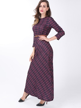 Plaid Round Neck Slim  Dress
