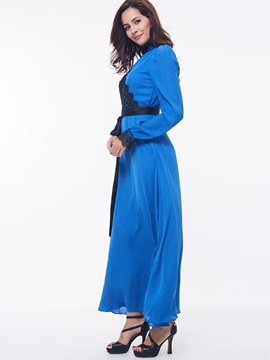 Contrast Color Long Sleeve Turtleneck Maxi Dress