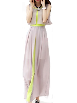 Contrast Color Two in One Sleeveless Maxi Dress