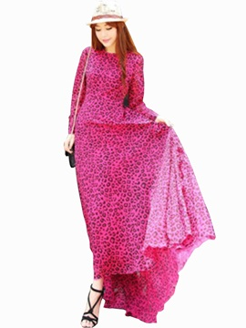 Leopard Long Sleeve Round Neck Maxi Dress