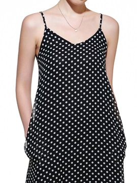 Polka Dots Backless V Neck Maxi Dress