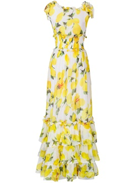 Floral Print Empire Waist Layered  Dress