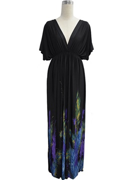 Batwing Sleeve Floral Print V Maxi Dress