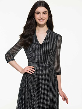 Polka Dots 3/4 Sleeve Maxi Dress