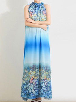 Gradient Floral Print Sleeveless Maxi Dress