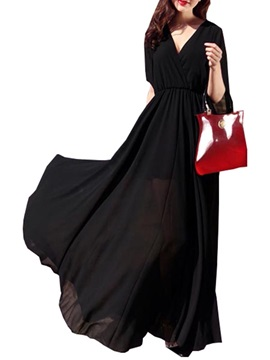 Solid Color V Neck Slim Maxi Dress