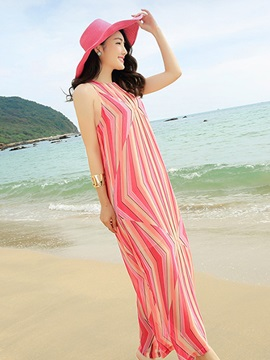 Stripe Round Neck Sleeveless Print Maxi Dress