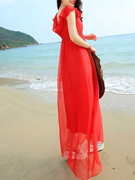 Solid V Sleeveless Slim Maxi Dress