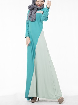 Contrast Round Neck Long Sleeve Slim Maxi Dress