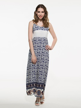 Ethnic Sleeveless Empire Waist Print  Dress