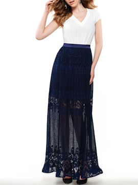 Sisjuly Contrast V Empire Waist Maxi Dress