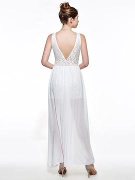 Backless Plain Deep V Split Maxi Dress