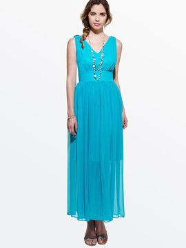 Plain V Patchwork Empire Waist Maxi Dress