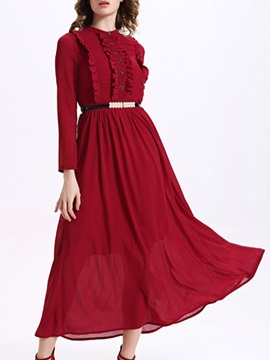 Sisjuly® Solid Color Long Sleeve  Dress