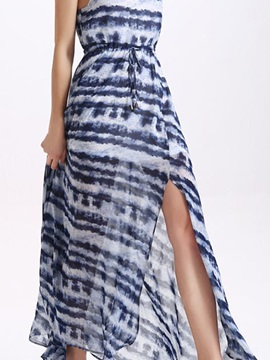 Sisjuly® Stripe Sleeveless Print Split  Dress