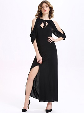 Sisjuly® Plain Hollow Split  Dress