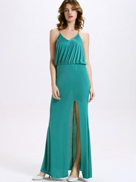 Sisjuly® Plain Backless Empire Waist  Dress