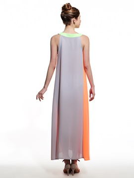 Contrast Color Hollow Sleeveless  Dress