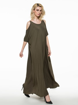 Plain Cold Shoulder Maxi Dress
