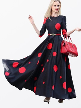 Polka Dots 3/4 Sleeve Slim  Dress