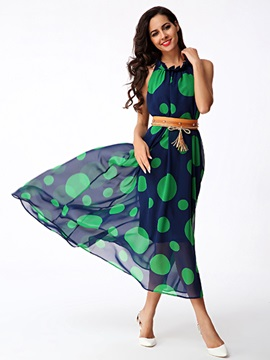 Sisjuly Polka Dots Sleeveless Waist-Adjusted  Dress