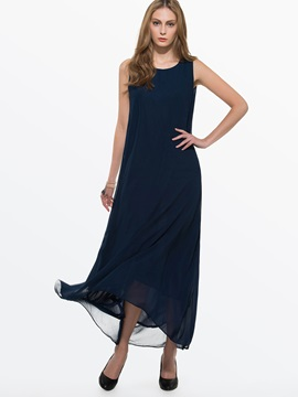 Sleeveless Asymmetric Straight  Dress