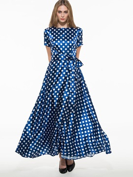 Slash Neck Polka Dots Expansion Maxi Dress