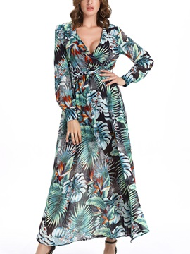 Sisjuly V-Neck Long Sleeve Print  Dress