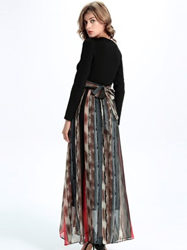 Sisjuly Contrast Color Stripe Patchwork Maxi Dress