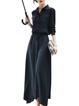 Lapel Collar Long Sleeve Button Lace-Up Women's Maxi Dress