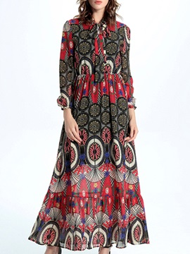 Sisjuly Nine Points Sleeve Print  Dress