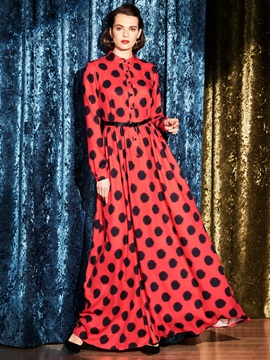 Long Sleeve Polka Dots Belt Maxi Dress