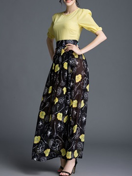 Floral Print Long Sleeve Empire Waist Maxi Dress