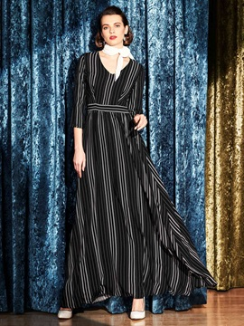 Stripe 3/4leeve Empire Waist Zipper  Dress