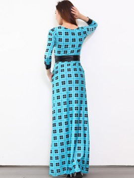 Plaid Nine Points Sleeve Empire Waist Maxi Dress