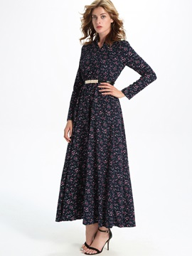 Sisjuly Floral Print Long Sleeve Belt Maxi Dresses