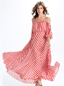 Sisjuly Stripe Off-the-Shoulder Expansion  Dress