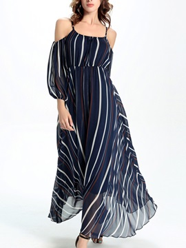Sisjuly Stripe Off-the-Shoulder Patchwork  Dress
