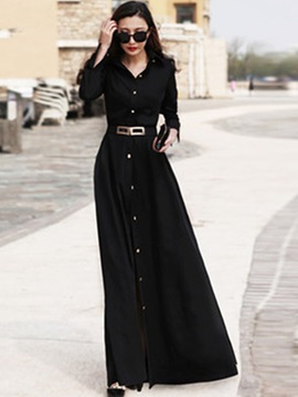Solid Color Lapel Button Pocket Belt Maxi Dress