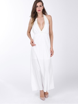 Chic V-Neck Halter Backless Maxi Dress