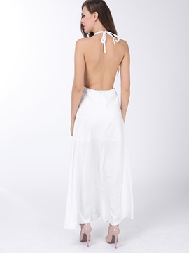 Chic V-Neck Halter Backless  Dress