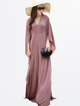 Solid Color V-Neck Batwing Sleeve Women's Maxi Dress