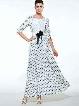 Polka Dots Patchwork Bowknot Maxi Dress