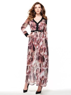 Print V-Neck Long Sleeve  Dress